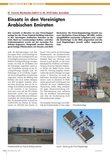 Einsatz in den Vereinigten Arabischen Emiraten - FRIMA GmbH ...