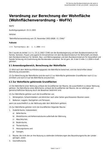 Verordnung Zur Berechnung Der Wohnfläche