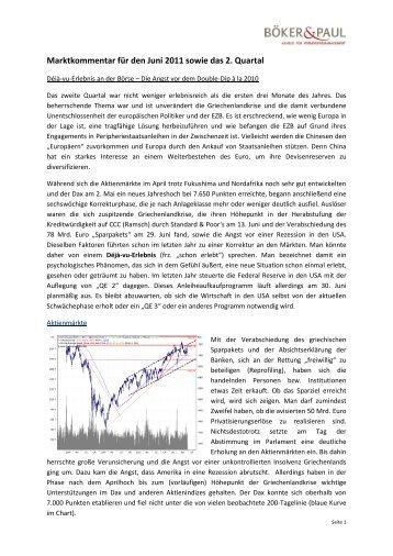 Marktkommentar Juni und zweites Quartal 2011 - Böker & Paul