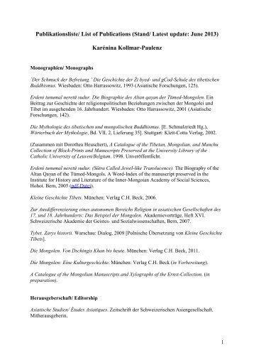 Publikationsliste - Institut für Religionswissenschaft