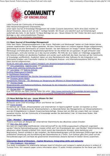 Neues Open Journal, Ticketverlosung zur KnowTech und vieles mehr
