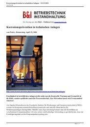 Korrosionsprävention in technischen Anlagen - 04-15-2010 - B&I