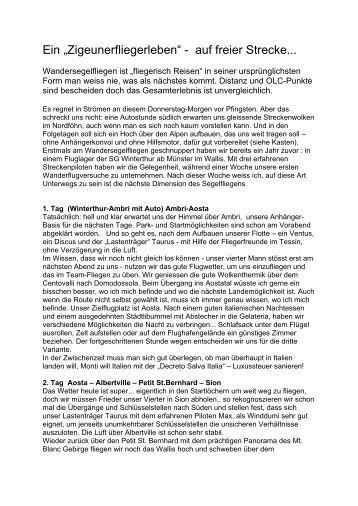 Bericht Wandersegelflug 2011 von Bruna Lanfranchi