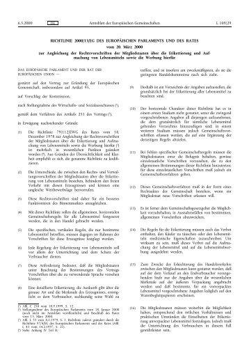Richtlinie 2000/13/EG - EUR-Lex