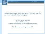 Technische Verfahren zur anonymen Nutzung des Internet und ...
