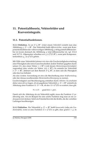 11. Potentialtheorie, Vektorfelder und Kurvenintegrale.