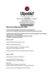 Menüvorschläge Sommer 2013