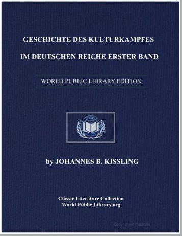 geschichte des kulturkampfes im deutschen reiche erster band