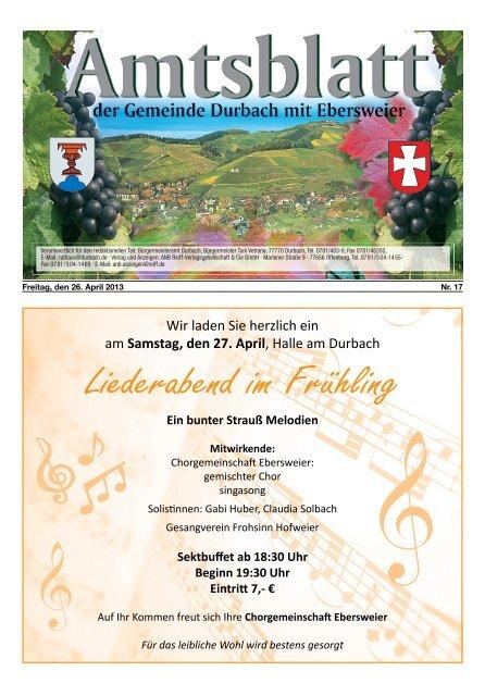 Liederabend im Frühling - Durbach