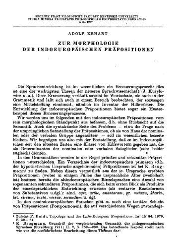 ZUR MORPHOLOGIE DER INDOEUROPÄISCHEN PRÄPOSITIONEN