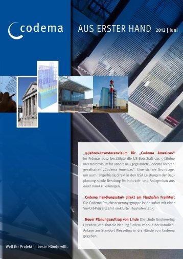 codema AuS ErSTEr HAnd 2012 | Juni - Codema International GmbH