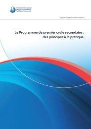 Le Programme de premier cycle secondaire : des principes à la ...