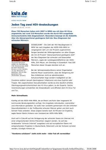 Jeden Tag zwei HIV-Ansteckungen - AIDS-Hilfe NRW e.V.