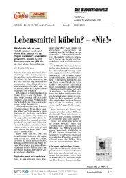 26. Mai Die Südostschweiz - Tischlein deck dich