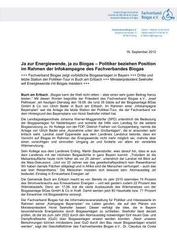 Ja zur Energiewende, ja zu Biogas – Politiker ... - Biogas in Bayern