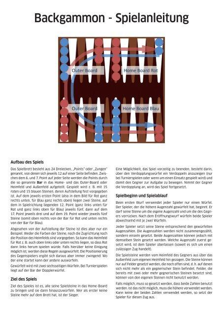 Backgammon Spielanleitung