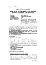 Kirchgemeindeversammlung vom 26.6.2011 - Kirchgemeinde Brienz