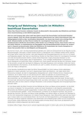 Hungrig auf Belohnung - CECAD Cologne - Universität zu Köln