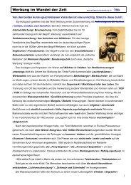 Werbung im Wandel der Zeit - Mittelschulvorbereitung Deutsch