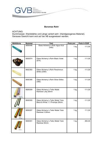 Boromax Rohr ACHTUNG: Durchmesser, Wandstärke und ... - GVB