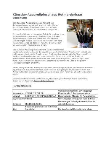 Künstler-Aquarellpinsel aus Rotmarderhaar - Malgut24