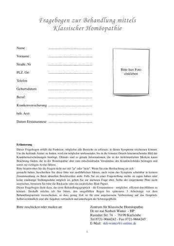 Fragebogen zur homöopathischen Behandlung - Zentrum für ...
