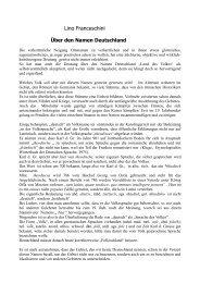 Über den Namen Deutschland - Lino Franceschini