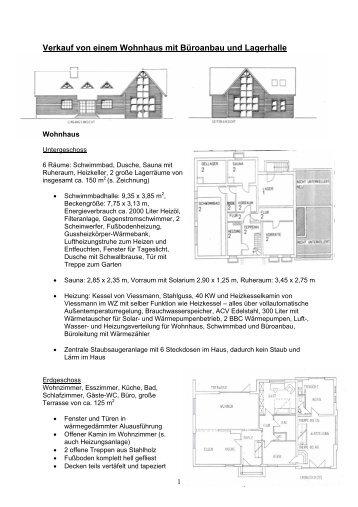 Verkauf von einem Wohnhaus mit Büroanbau und Lagerhalle