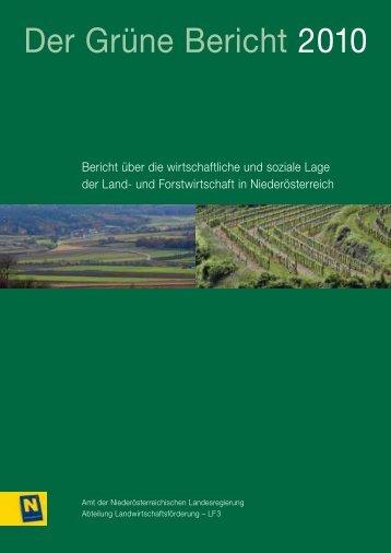 Der Grüne Bericht 2010 - beim Niederösterreichischen Landtag