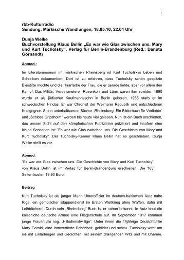 Märkische Wandlungen, 18.05.2010 - Verlag für Berlin-Brandenburg
