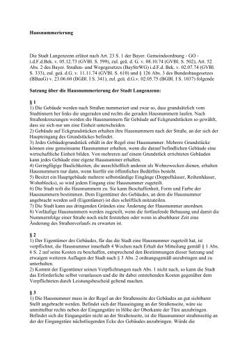 Hausnummerierung Die Stadt Langenzenn erlässt nach Art. 23 S. 1 ...