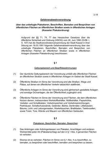 3.19 Gefahrenabwehrverordnung über das unbefugte ... - Kassel