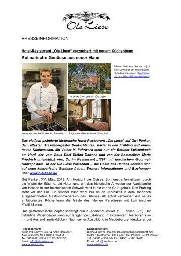 """Hotel-Restaurant """"Ole Liese"""" verzaubert mit neuem Küchenteam"""