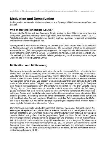 Motivation und Demotivation - Physio-Harmonie