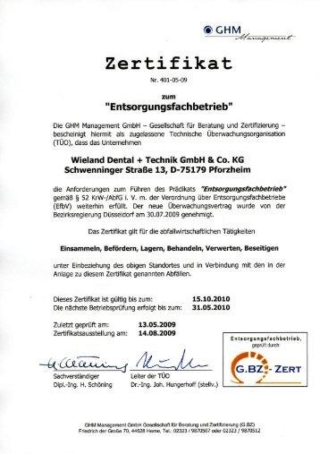 Zertifikat ISO 13485 2003 + AC 2009 - Heraeus Dental