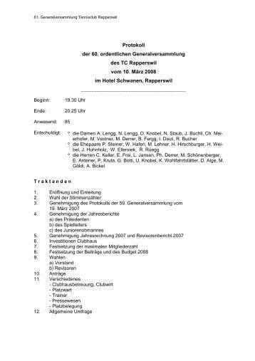 05 GV-Protokoll 2008 - Tennisclub Rapperswil