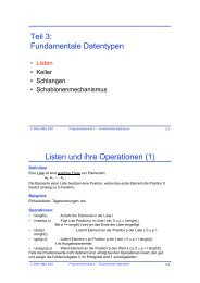 Teil 3: Fundamentale Datentypen Listen und ihre Operationen (1)