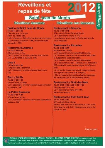 Réveillons et repas de fête - Saint Jean de Monts