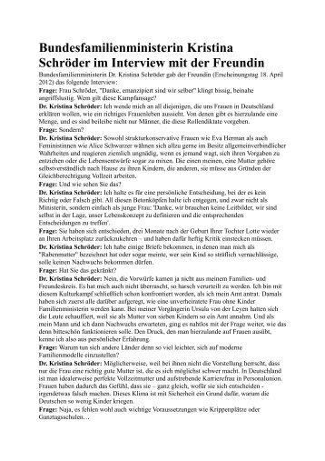 Bundesfamilienministerin Kristina Schröder im Interview mit der ...