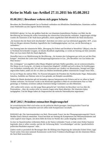 Krise in Mali: taz-Artikel 27.11.2011 bis 05.08.2012 - Afrique-Europe ...