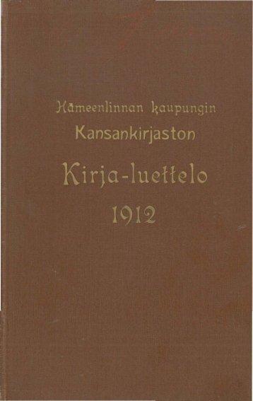 Hämeenlinnan kaupungin kansankirjaston kirja-luettelo v. 1912