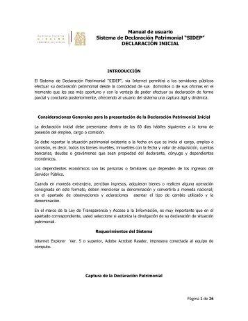 "Manual de usuario Sistema de Declaración Patrimonial ""SIDEP ..."