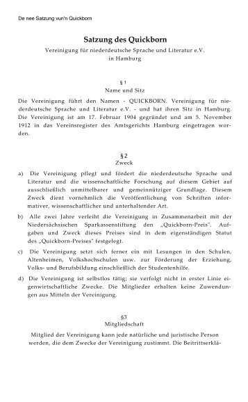 Satzung - Quickborn. Vereinigung für niederdeutsche Sprache und ...