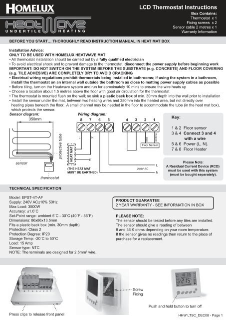 LCD Thermostat Instructions - Homelux on