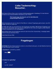 Liebe Taubenschlag- Besucher, Fragebogen