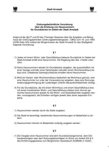 Verordnung Hausnummer - Stadt Arnstadt