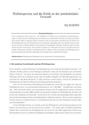 Weltbürgertum und die Kritik an der postkolonialen Vernunft