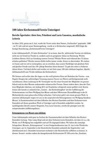 Bericht Aegeritaler - Kirchenmusik Verein Unterägeri