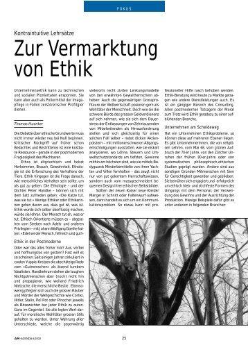 Zur Vermarktung von Ethik. Kontraintuitive Lehrsätze