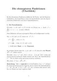 Die elementaren Funktionen (¨Uberblick)